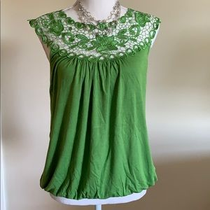 Embroidered Blouson Green Tank